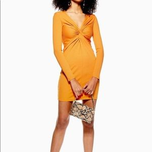 New Topshop Mustard Rib Knot Bodycon Mini Dress